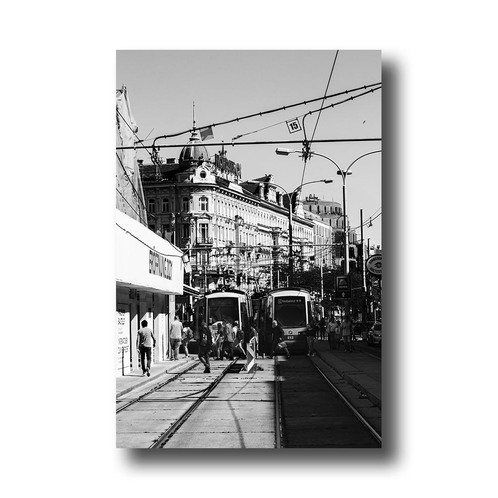 zwartwit poster Bahnhof - Wenen